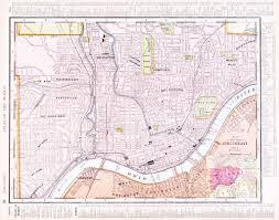 Ohio Map Of Cities by Antique Color Street City Map Cincinnati Ohio Usa U2014 Stock Photo