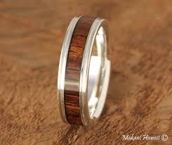 silver wood rings images 6mm natural hawaiian koa wood inlaid 925 sterling silver wedding jpg
