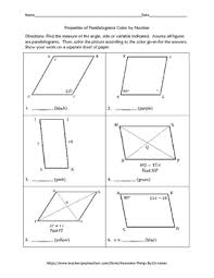 properties of parallelograms worksheet properties of parallelograms color by number by awesome things by
