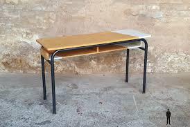 bureau ecolier en bois bureau d école ancien bois et métal gris clair
