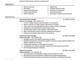 project manager sample resumes technical project manager resume cover letter