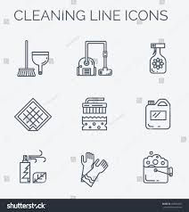 cleaning household supplies icons modern clean linear stock vector