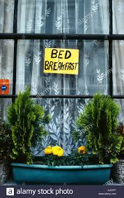 Bed And Breakfast In London Bed And Breakfast Sign In Window Near Paddington Station London Uk