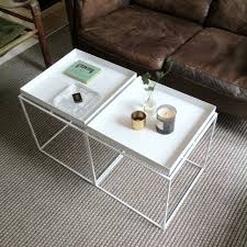 white tray coffee table two small coffee tables pushed together gives the living room set up