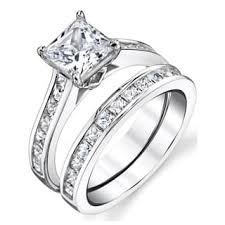 wedding ring set for princess bridal sets wedding ring sets for less overstock