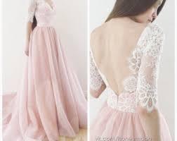 Wedding Dress Lace Sleeves Blush Wedding Dress Etsy