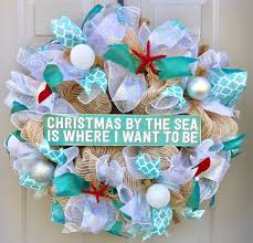 christmas by the sea is where i want to be beach burlap deco mesh