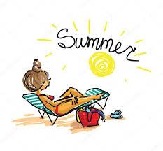 se faire bronzer sur la plage main mode dessin doodle vecteur