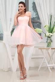 pink bridesmaid dresses pink satin organza one shoulder knee length bridesmaid dress