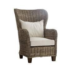 fauteuil dos fauteuil en rotin dossier haut avec coussins royan