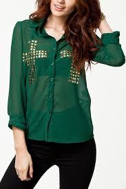 green womens blouse green cross diamante chiffon top womens shirts blouses