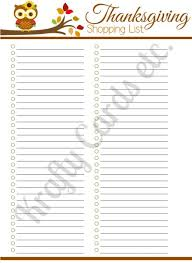 printable thanksgiving shopping lists happy thanksgiving