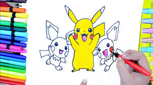 draw color paint baby pokemon pikachu coloring pages and learn