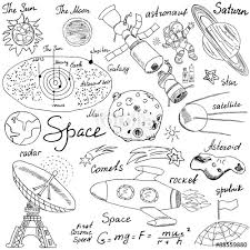 space doodles icons set hand drawn sketch with solar system