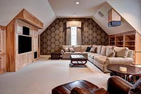 Craftsman Family Room With Carpet  Cathedral Ceiling In - Wallpaper for family room
