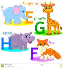 alphabet kids animals efgh stock vector image 76214454