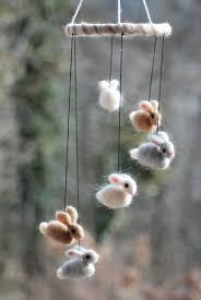 Handmade Nursery Decor by Bunny Mobile Needle Fellted 6 Bunnies Handmade Baby Mobile
