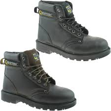 grafters steel toe safety work boots size uk 4 16 mens black