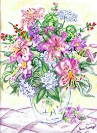 Vase Of Flowers Drawing Drawn Vase Flower Bouquet Pencil And In Color Drawn Vase Flower