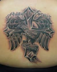 faith cross wings tattoos on waist photo pictures images