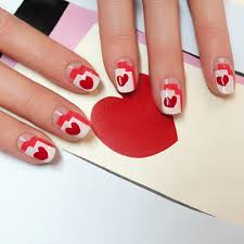 graphic heart nail art tutorial popsugar beauty