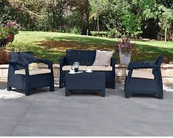 Plastic Garden Tables And Chairs Keter Corfu Outdoor 4 Seater Rattan Furniture Set With Accent