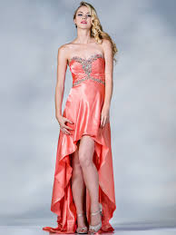 coral satin high low prom dress sung boutique l a