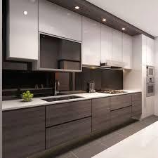cuisine brun et blanc beau contraste pour cette cuisine ouverte blanc brun couleur