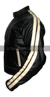 motorcycle racing jacket black color motorcycle leather jacket with white stripe