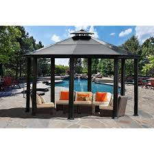 aleko gzb004 double roof polyester patio gazebo canopy brown 10