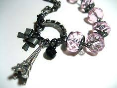 Paris Themed Charm Bracelet Purple Guitar Earrings Sterling Silver Posts With Violet Glitter