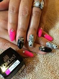 lingerie nails blush and hand painted black lace by nail salon