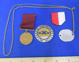 us navy memorial coin tag silver chain conduct medal