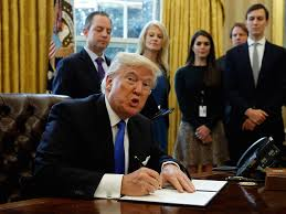 What Desk Is Trump Using by Watch Trump Leave An Executive Order Signing Ceremony Without