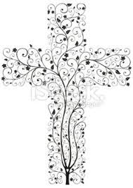 tree from a cross floral christian cross tree shape on a white