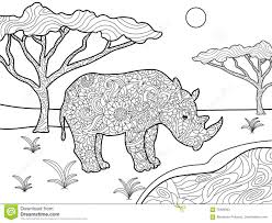 rhinoceros coloring book for adults vector stock vector image