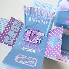 happy 17th birthday explosion box card in blue and purple design