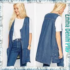 Light Blue Vest 2016 Stylish Light Blue Supersoft Denim Long Cotton Denim Vest