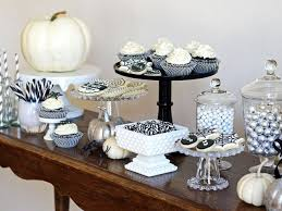 Halloween Cake Stands Black And White Treats Table Hgtv