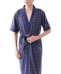 robe de chambre courte pour homme surenow robe de chambre pyjama peignoir en coton à carreaux manche