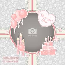 birthday card with a pink frame vector free download