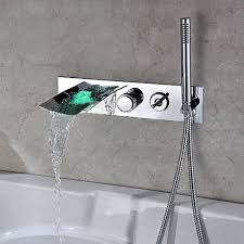 pull out bathtub faucet modern wall mount with pull out hand shower bathtub led waterfall faucet