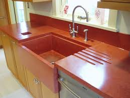 red concrete countertop with integral farm sink brooks custom