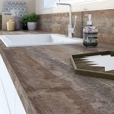 crédence en stratifié pour cuisine plan de travail stratifié vintage wood mat l 315 x p 65 cm ep