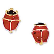 14k yellow gold 5x6mm ladybug lady bug stud kids children earrings