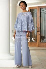 mother of the bride pant suits blue chiffon with lace for