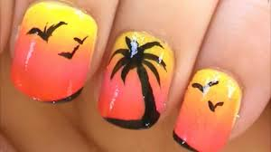 palm tree nail art tutorial simple nail art designs youtube