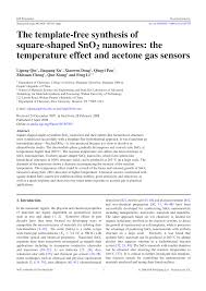 the template free synthesis of square shaped sno2 nanowires the