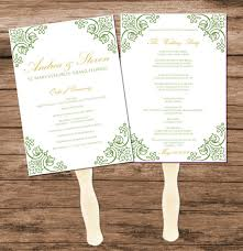 wedding programs fans templates green vintage wedding program fan template digital reception menu