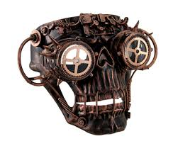 steampunk halloween steamskully metallic finish steampunk skull with spiked goggles